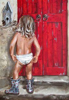 Kind voor rooi deur   maria