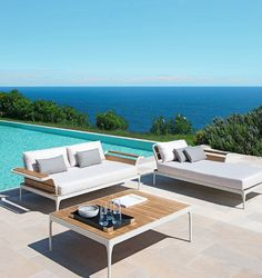 Charmant Left Or Right Daybed Module With Frame In Aluminium And Teak. Terrassen,  Tagesbett,