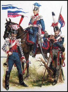 Russian line Uhlans: Trumpeter- Lithuanian Uhlans, Mounted Officer - Polish Uhlans, NCO- Tchougouiev Uhlans.