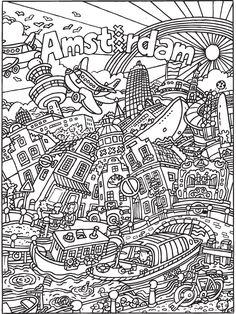 Kleurplaat kleurplaat voor volwassenen: Amsterdam - Kleurplaten.nl Disney Coloring Pages, Colouring Pages, Adult Coloring Pages, Coloring Sheets, Coloring Books, What To Draw, Learn To Draw, Medan, Kids Study