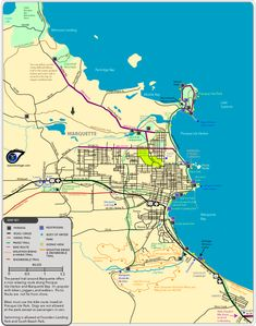 MI: Marquette Michigan Parks and Trails Map; Marquette is a fabulous place to bike! Beautiful Places To Visit, Oh The Places You'll Go, Marquette Michigan, Area Map, Usa Cities, Michigan Travel, Travel Party, Upper Peninsula, Grand Tour