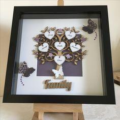 Made by me Taz Locke @ Decorus LockeT Scrabble Crafts, Scrabble Frame, Family Tree Frame, Family Trees, Box Frame Art, Diy Frame, Xmas Gifts, Diy Gifts, Shadow Box Picture Frames