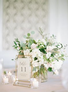 INSTAGRAM Formal Modern Classic Wedding Reception Decor, Gold Table Number Sign, White and Blush Pink Roses, Eucalyptus, and Greenery Floral Centerpiece