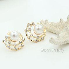 $1.59 1 Pair Fashion Crystal Rhinestone Pearl Ear Stud Ear Cuff Jewelry - BornPrettyStore.com