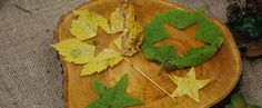 star shapes cut out of autumn leaves