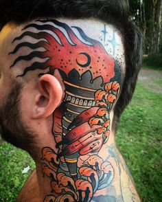 Torch tattoo by @samclarktattoos in Noosa Heads Australia #samclarktattoos #samclark #noosa #noosaheads #queensland #australia #headtattoo #torchtattoo #tattoo #tattoos #tattoosnob