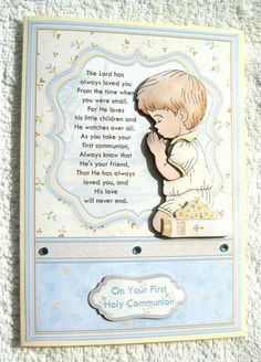 Communion Boy Prayer Card Topper Decoupage on Craftsuprint designed by Janet Briggs - made by Margaret Scott