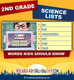Use this science word list with our interactive vocabulary games to supplement second grade science curriculum.