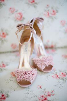 rosa Brautschuhe, High Heels, Sandalen mit Riemchen, Fransen