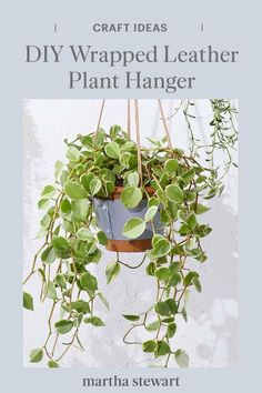 This leather-wrapped hanging plant holder is as modern and interesting as it is functional. While there's nothing wrong with a classic macramé plant hanger, that boho look may not go with your interior design style. For a sleeker look, consider a leather plant hanger. All you need is a piece of leather and a few other craft supplies. #marthastewart #crafts #diyideas #easycrafts #tutorials #hobby Easy Garden, Summer Garden, Garden Crafts, Diy Garden Decor, Diy Home Decor Projects, Decor Ideas, Craft Ideas, Hanging Plants, Plants Indoor