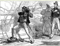 1857 Royal Navy Irish lad Charles Lucas, wins the VC by  tossing overboard a live shell.