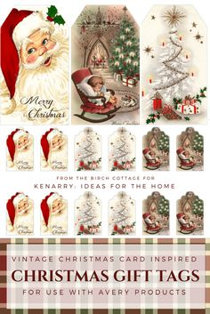 christmas images Vintage Christmas Gift Tags from The Birch Cottage Silver Christmas Decorations, Christmas Diy, Christmas Nativity, Christmas Mantles, Cottage Christmas, Victorian Christmas, Free Christmas Cards, White Christmas, Christmas Trees