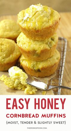 Need a quick & easy side to serve with soup, chili, or barbecue? Fix these tender & slightly sweet cornbread muffins in only 30 minutes. The combo of honey, buttermilk (or regular milk), sour cream & butter make them moist, rich, and extra comforting - the best! Use my homemade cornbread mix with flour, yellow cornmeal, baking powder & salt as the base, or grab a box of Jiffy from your pantry. This recipe yields 6 muffins; however, you can easily double it to make a dozen if you want more! Sweet Cornbread Muffins, Honey Cornbread, Homemade Cornbread, Homemade Muffins, Cornbread Mix, Quick Bread Recipes, Real Food Recipes, Simple Recipes, Cream Butter