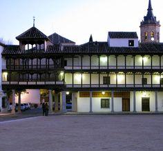 Main square at night of the village of Tembleque, Toledo, Spain