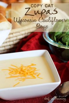 Wisconsin Cauliflower Soup :: 7 delicious warm soups for fall 3 Tbsp. butter 1 medium onion chopped 1/4 cup flour 1/2 tsp. salt 1 cup half and half 1 cup milk 1 1/2 cups water 1 (14.5 oz) can chicken broth 2.5 lbs cauliflower 1 tsp. Dijon Mustard 1 1/2 cups sharp cheddar cheese shredded 1/2 cup pepper jack cheese shredded