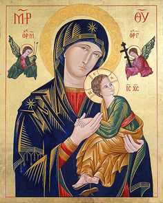 Our Lady of Perpetual Help, Russian orthodox icon, Madonna and Child, Virgin Mary Canvas Print Blessed Mother Mary, Blessed Virgin Mary, Religious Icons, Religious Art, Virgin Mary Painting, Prayer For My Children, La Madone, Paint Icon, Mama Mary