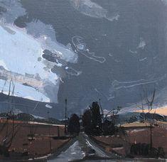 O Home, Original Spring Landscape Sunset Painting on Panel, Stooshinoff