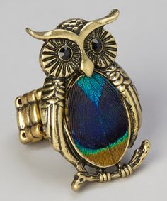Take a look at this Blue & Green Peacock Feather Owl Stretch Ring by Gabrielle Jewelry on #zulily today!
