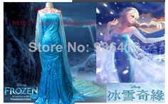 Free shipping new 2014 baby & kids girl Clothing Girl Party Frozen Dress New Cosplay Princess Elsa Dress from Frozen US $69.00