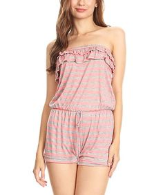 Pink Ruffle-Accent Strapless Romper