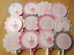 Pink and Grey Elephant Collection: Cupcake Toppers. $10.00, via Etsy.