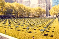 Ten Years Later: A Tribute 9/11 My favorite 9/11 tribute in New York City can be found in Bryant Park. 2,819 empty chairs on the lawn facing the site where the World Trade Center once stood, one chair for every life lost. The number of empty chairs captures the enormity of the lives lost and the stark emptiness of it just drives home the point that I hope is never forgotten. 2,819 people were here one moment and gone the next. 2,819 went to work or boarded a plane one morning ten years ago t...