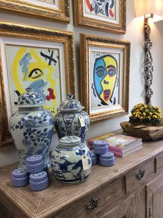 Providence Design  -  ginger jars contrast with modern art - console display