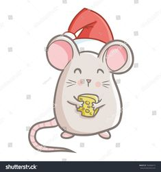 Cute and funny fat mouse holding cheese, wearing Santa's hat for Christmas and smiling - vector. Foto Doodle, Doodle On Photo, Art Drawings For Kids, Easy Drawings, Kirigami, Maus Illustration, Holiday Canvas, Mouse Tattoos, Bee Cards