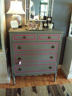 Grey and Pink Dresser