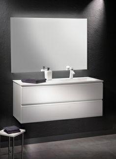 Loft & Bath® Blanc > Mobilier façade cuir Blanc > Meuble vasque à droite avec miroir 120 cm