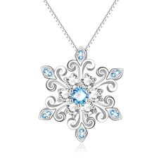 925 Sterling Silver Snowflake Pendant Necklace Blue and White Fleur De Lis Romantic Jewelry Gift for Her Birthday - November 02 2019 at Bracelets En Argent Sterling, Silver Bracelets, Sterling Silver Necklaces, Silver Ring, Silver Earrings, Diamond Necklaces, Earrings Uk, Diamond Choker, Diamond Jewelry