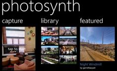 The Windows Phone 8 version of Photosynth features lens integration to capture and view panoramas directly from the camera using Photosynth.