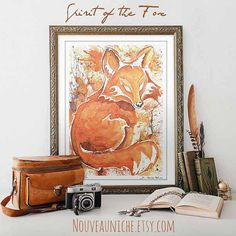 Fox Art, Watercolor Animal Prints, Archival Print from Original Watercolor, Woodland, Red Fox Hand Signed Print, Rustic Home Decor Wall Art