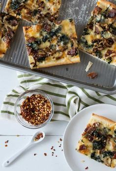 Spinach, Caramelized Onion and Bacon Sheet Pan Pizza