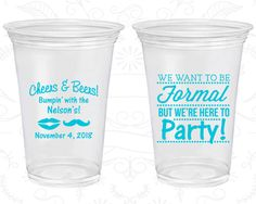 Soft Sided Birthday Cups, Cheers and Beers, Mustache Birthday, Formal but here to party, Lips Birthday, Disposable Birthday Cups (20133)
