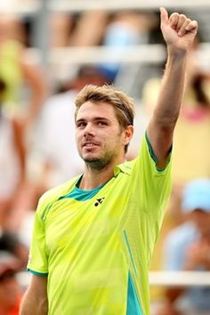 Stanislas Wawrinka of Switzerland celebrates his win over Kei Nishikori of Japan during the Western & Southern Open at the Lindner Family Tennis Center on August 16, 2012 in Mason, Ohio.
