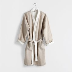 Contrasting cotton linen bathrobe - Towels & Bathrobes - Bathroom   Zara Home Norway