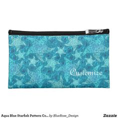 Aqua Blue Starfish Pattern Cosmetics Bag