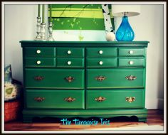 Emerald Green Vintage Dresser / Media Console by theTurquoiseIris, $375.00