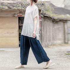 Women cotton  casual loose pants