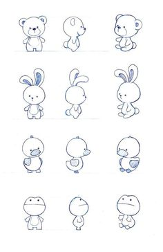 Character design by : simple cartoon drawings, simple animal drawings, simple Tier Doodles, Cute Doodles, Cute Doodle Art, Easy Animal Drawings, Easy Drawings, Drawing Animals, Drawing Faces, Simple Cartoon Drawings, Rabbit Cartoon Drawing