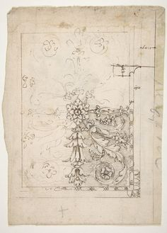 Drawn by Anonymous, French, 16th century | Temple of Castor and Pollux, soffit panel, ceiling plan (recto) Unidentified, stucco or fresco, details (verso) | The Metropolitan Museum of Art
