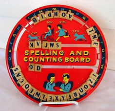 Vintage 1960's Spelling and Counting Board Plastic w Wood Letters Child's Educational Toy, Red, Yellow, Blue