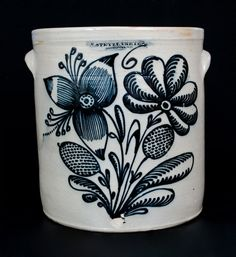 "Stunning Stetzenmeyer. Exceptional Six-Gallon Stoneware Crock with Profuse Cobalt Floral Decoration, Stamped ""F. STETZENMEYER. / ROCHESTER, NY,"" circa 1850. This crock typifies why Frederick Stetzenmeyer's work is considered some of the finest-decorated of all 19th century American stoneware products. One of the most heavily-decorated examples of Stetzenmeyer stoneware known."