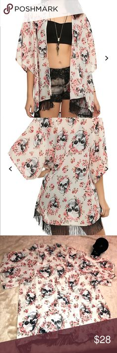 Hot topic skull flower fringe kimono plus size 3x Worn once plus size cream/offwhite skull flower open kimono with fringe detail. All items come from smoke free home. 🐺Husky friendly environment. All items are kept in plastic containers, but shed happens 😊 Hot Topic Tops