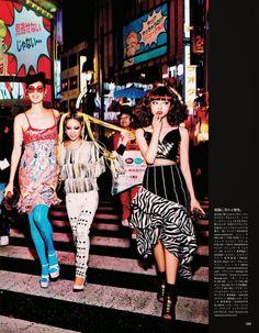 Vogue Japan July 2014: Tokyo Neon Girls Chiharu Okunugi, Risa Nakamura, Hiari Ikeda, Tiffani Cadillac & Shunsuke Okabe by Ellen Von Unwerth - Rodarte