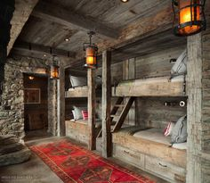 All I Need is a Little Cabin in the Woods Photos) Bunk room cabin bedroom Cool Bunk Beds, Adult Bunk Beds, Bunk Rooms, Little Cabin, Log Cabin Homes, Tiny Log Cabins, Cabins And Cottages, Cabins In The Woods, House Design