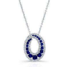 HIGH QUALITY NATURAL COLOR 18K WHITE GOLD SWIRLED ROUND SAPPHIRE DIAMOND PENDANT EMBEDDED WITH ROUND WHITE DIAMONDS, FEATURES 0.79 CARAT TOTAL WEIGHT