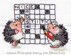 9° soggetto: Puzzle Hedgehogs  i like the hedgehogs without the crossword puzzle? cross stitch