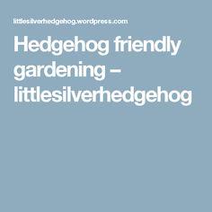 Hedgehog friendly gardening – littlesilverhedgehog